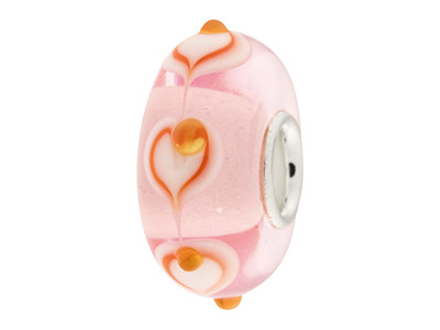 Glass Charm Bead, Pink With Orange Hearts