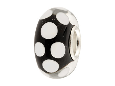Glass Charm Bead, Black With White Dots