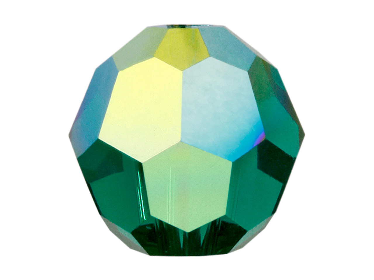 Swarovski Crystal Pack of 12,      Round, 5000, 4mm Emerald Ab
