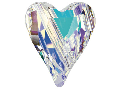 Swarovski Crystal Pack of 2 Wild   Heart Beads 5743 12mm Crystal Ab