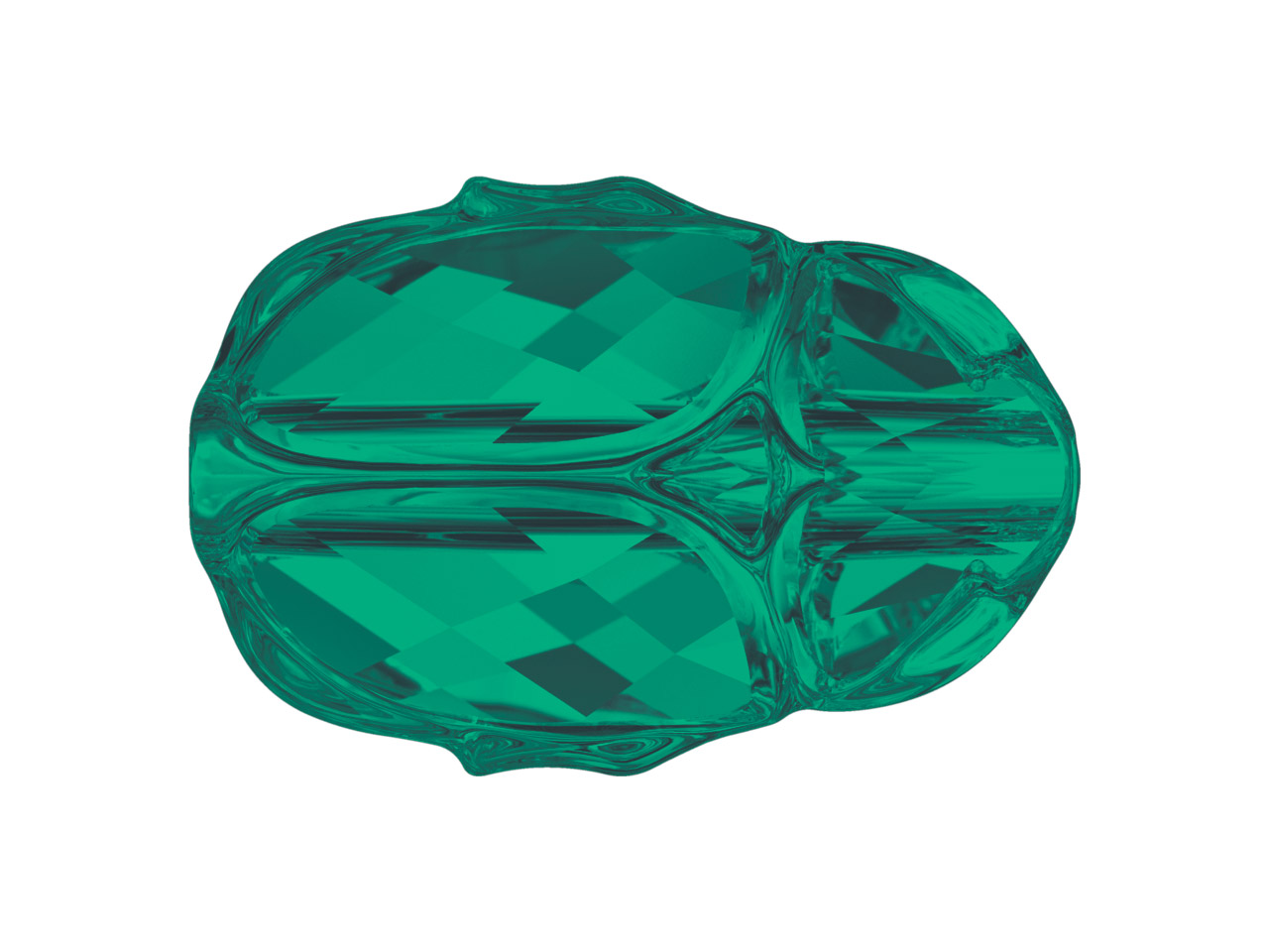 Swarovski Pack of 4 Scarab Bead,   5728, 12mm, Emerald
