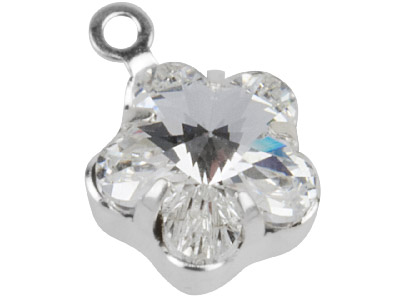 Swarovski Crystal Flower Charm 19905 10mm Crystal Clear