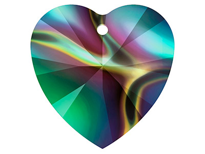Swarovski Pack of 2 Heart 6228   10.3x10mm Crystal Rainbow Dark