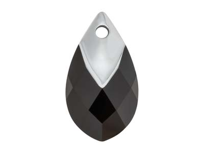 Swarovski Pack of 1, Metallic Cap  Pear Shaped Pendant, 6565, 18mm,   Jet Light