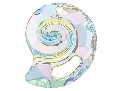 Swarovski Sea Snail Pendant, 6731, 28mm, Crystal Ab, Partly Frosted
