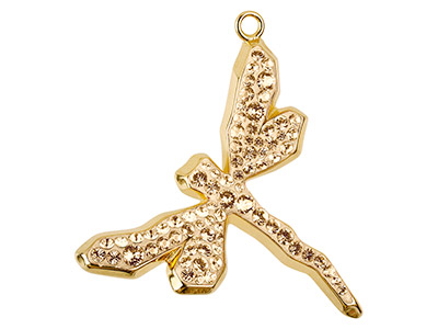 Swarovski Dragonfly Pave Pendant,  30mm, Crystal Golden Shadow