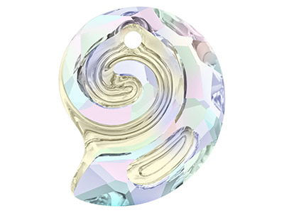 Swarovski Pack of 2 Sea Snail      Pendant, 6731, 14mm, Crystal Ab,   Partly Frosted