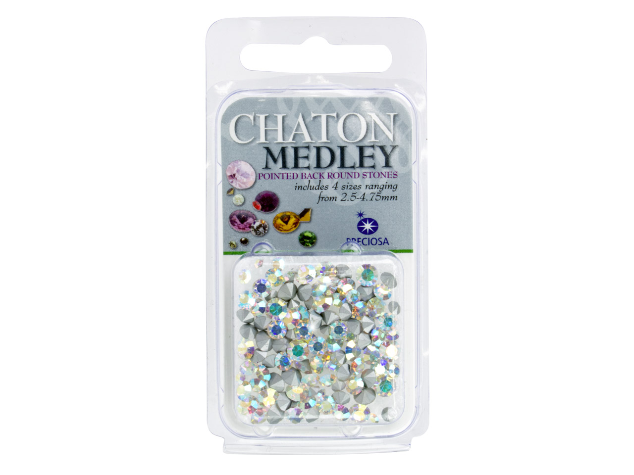 Preciosa Crystal Ab Mix Chatons, 4 Sizes, 5g Pack