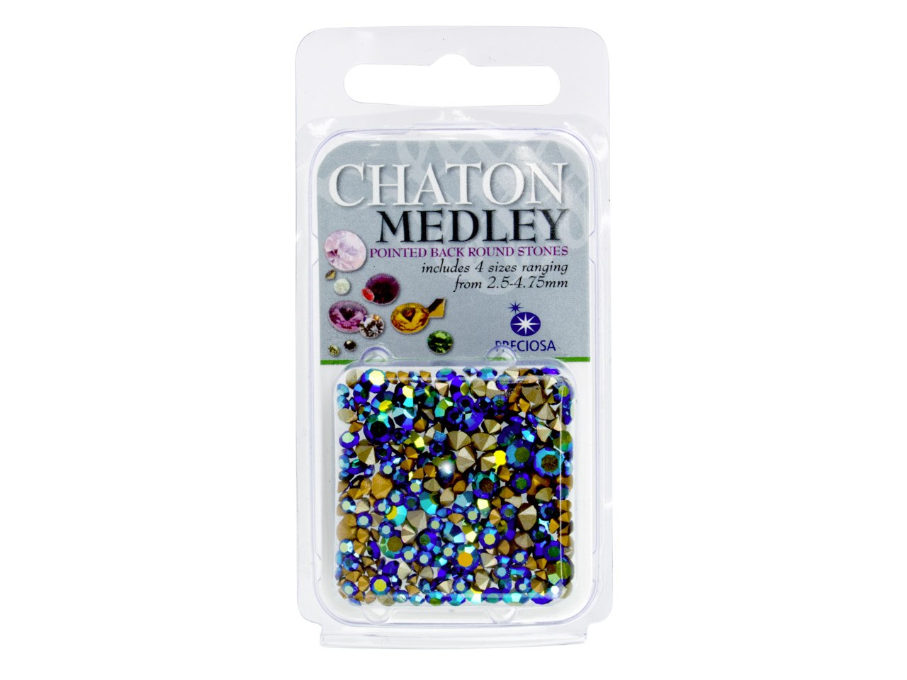 Preciosa Jet Coloured Ab Mix       Chatons, 4 Sizes, 5g