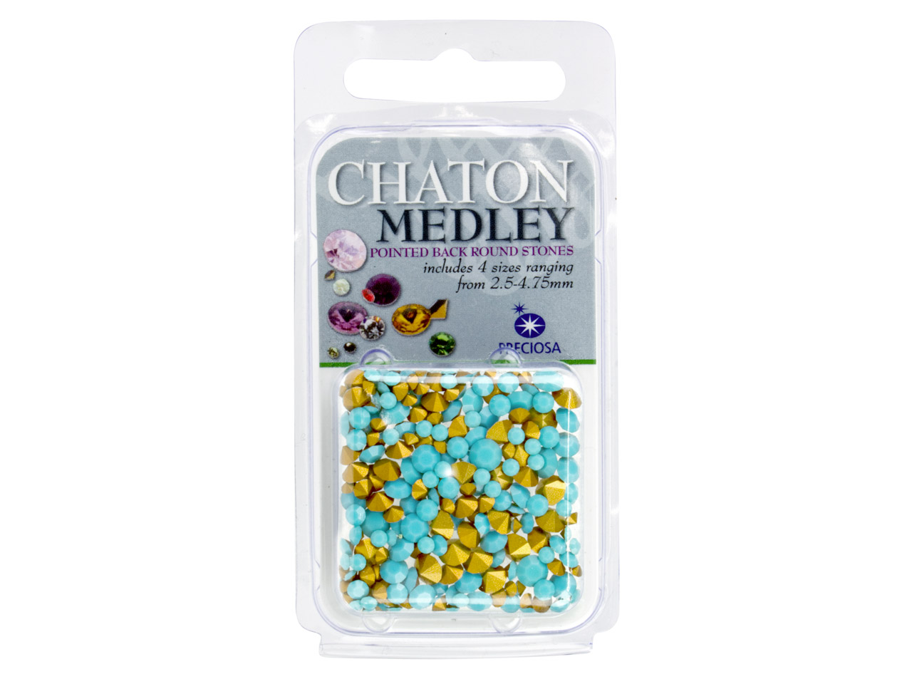 Preciosa Turquoise Coloured Mix    Chatons, 4 Sizes, 5g