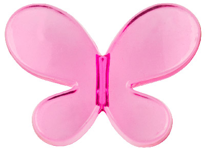 Hot Pink Butterfly 33x45mm Lucite  Beads Pack of 2
