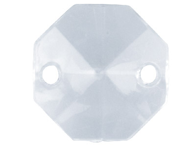 Clear Octagon Flat 14mm Lucite     Beads 2 Hole Pack Of 30