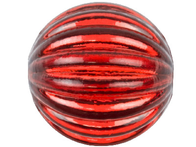 Red Lined Round 16mm Lucite Beads  Pack of 10