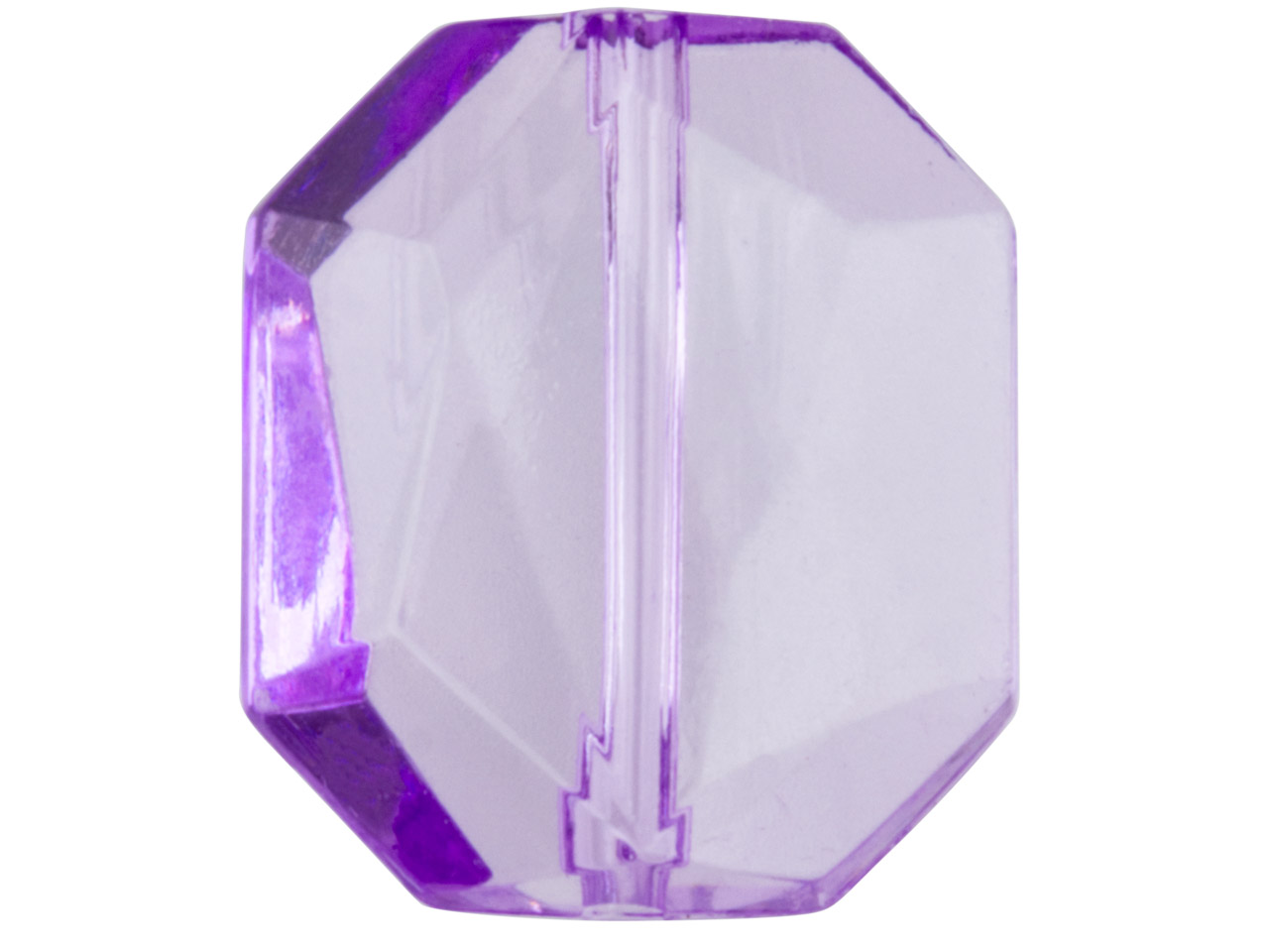 Violet Faceted Cut Corners         Rectanglar 18x16mm Lucite Beads    Pack of 20