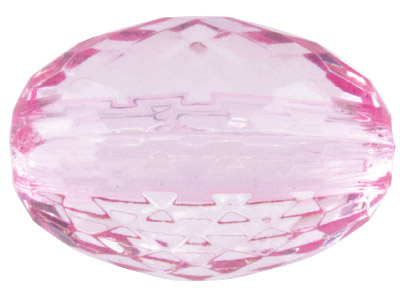 Light Pink Faceted Oval 12mm Lucite Beads Pack of 20
