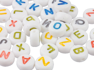 Mixed Colour Flat Round 7mm        Alphabet Letter Acrylic Beads      Pack of 200