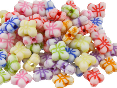 Mixed Colour Butterfly 6mm Plastic Beads Pack Of 200