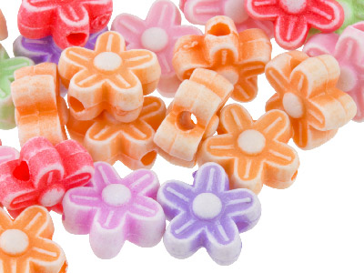 Mixed Colour Flower 8.5mm Plastic Beads Pack Of 50