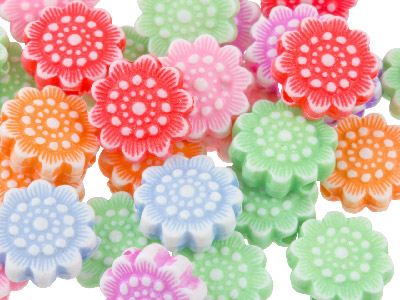 Mixed Colour Flower 11mm Plastic Beads Pack Of 60