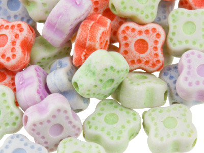 Mixed Colour Fancy Square 7mm Plastic Beads Pack Of 100