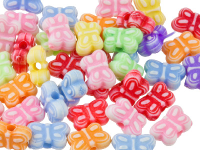 Mixed Colour Butterfly 8mm Plastic Beads Pack Of 100