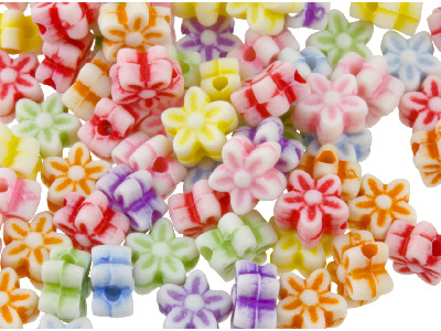 Mixed Colour Flower 6mm Plastic Beads Pack Of 200