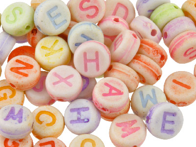 Mixed Colour Flat Round 7mm        Alphabet Letter Plastic Beads      Pack of 200
