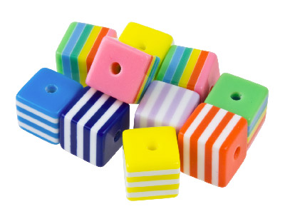 Mixed Colours Striped Cube 8mm     Resin Beads Pack of 50