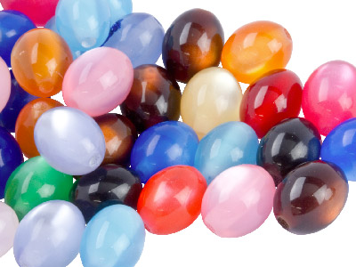 Mixed Colours Oval 8x10mm Resin    Beads Pack Of 50