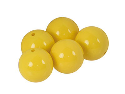 Plain Acrylic Beads, Opaque        Buttercup, 14mm, Pack of 5
