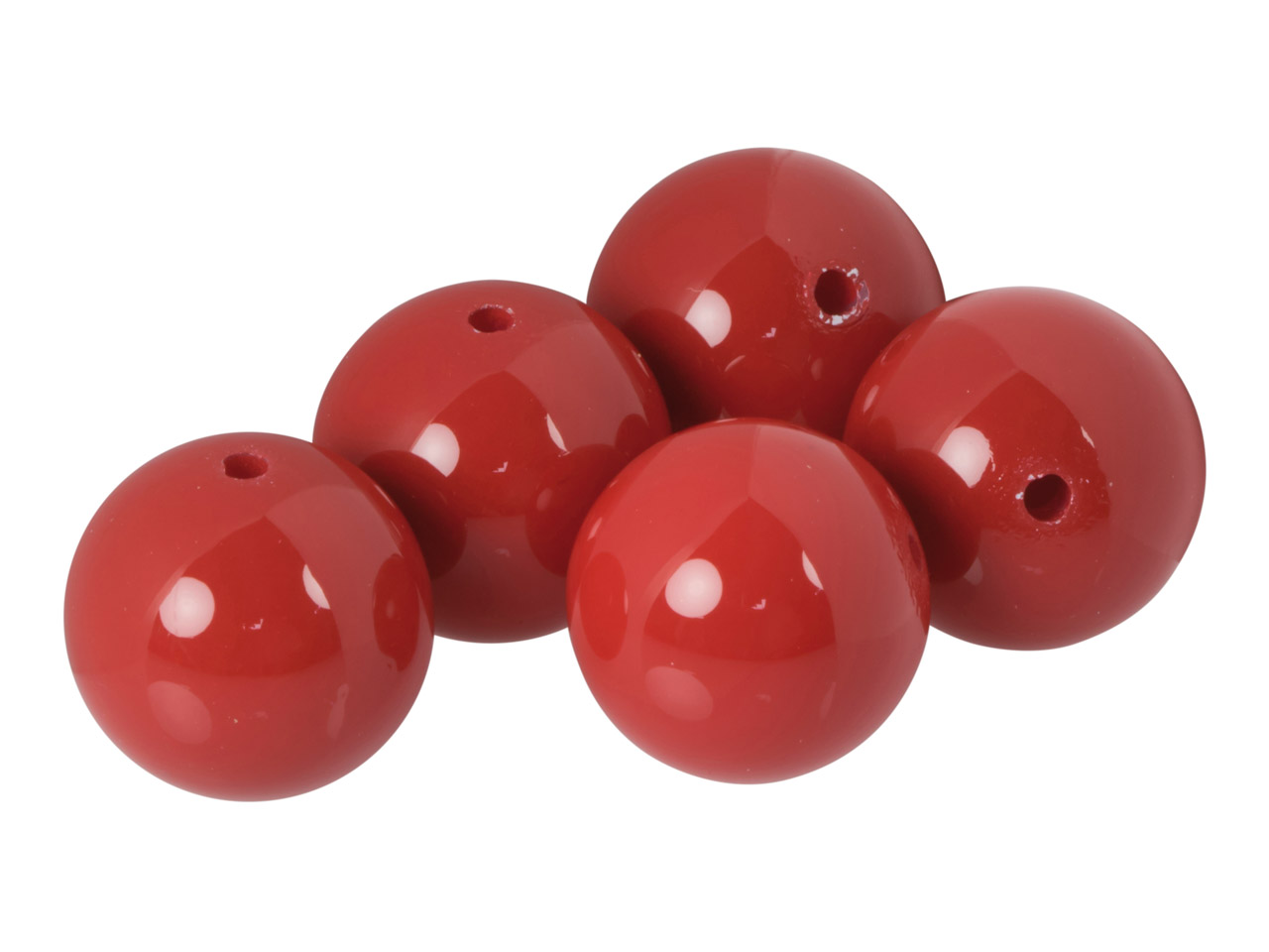 Plain Acrylic Beads, Opaque Red,   14mm, Pack of 5