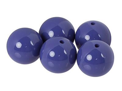 Plain Acrylic Beads Opaque Purple 14mm Pack of 5