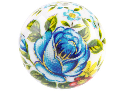 Round 16mm Decal Beads White With  Blue Rose 2 Pack
