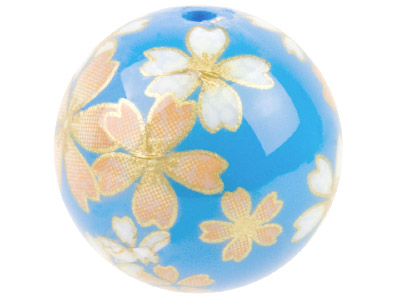 Round 16mm Decal Beads Blue With   Soft Pink Flower 2 Pack