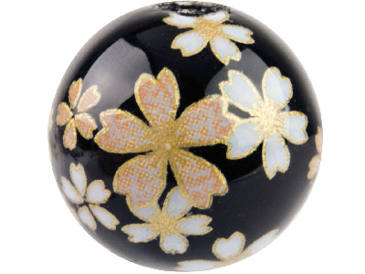Round 12mm Decal Beads Black With Soft Pink Flower, 4 Pack