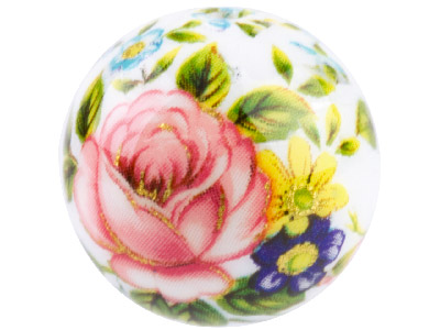 Round 12mm Decal Beads White With Pink Rose, 4 Pack