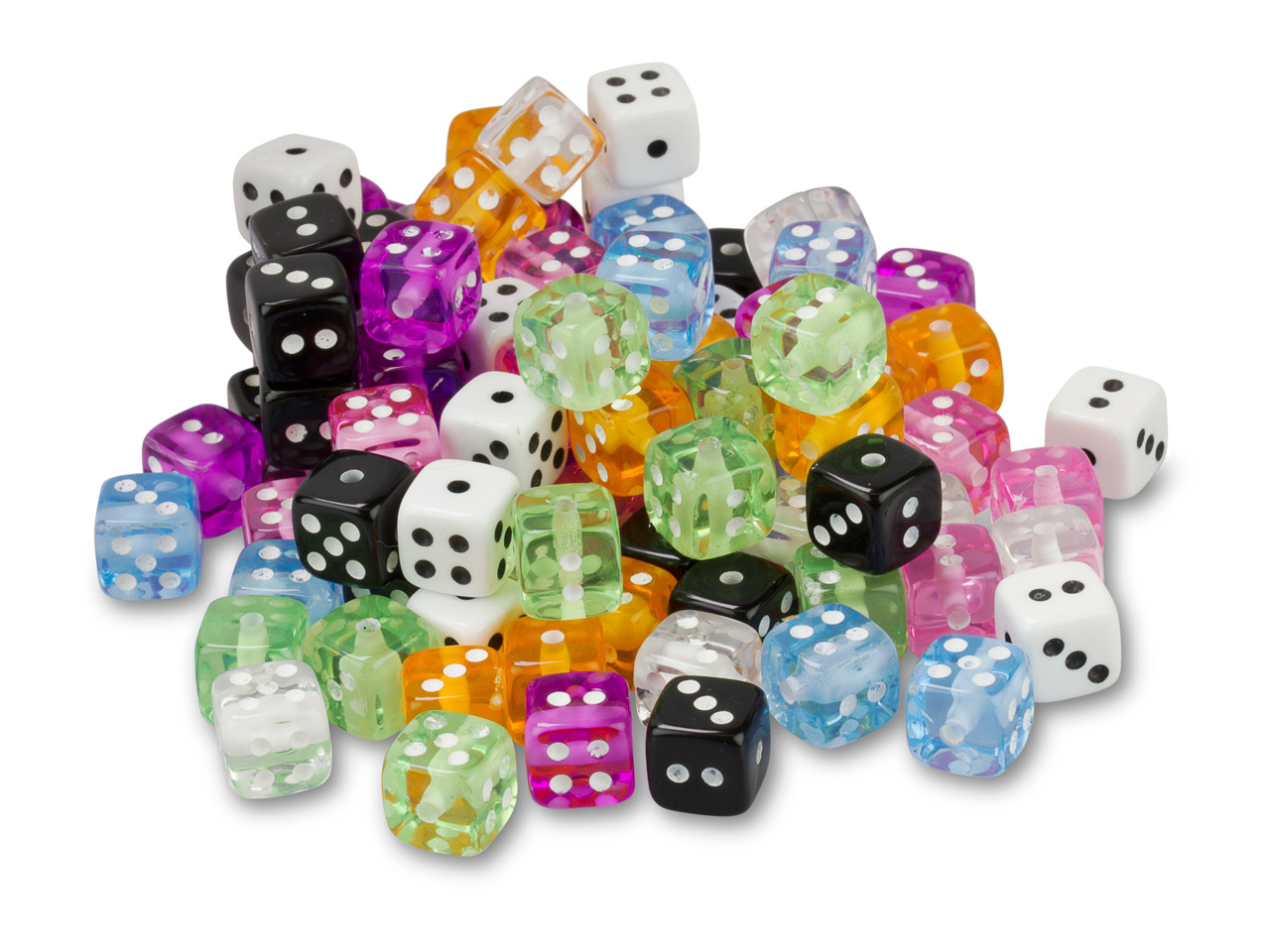 Plastic Dice, 9mm, Mixed Colours,  Pack of 100,