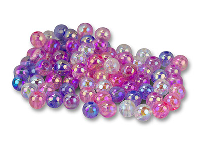 Iridescent Plastic bubble Beads, 8mm, Mixed Colours, Pack of 100,
