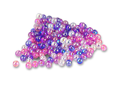 Iridescent Plastic bubble Beads, 6mm, Mixed Colours, Pack of 200