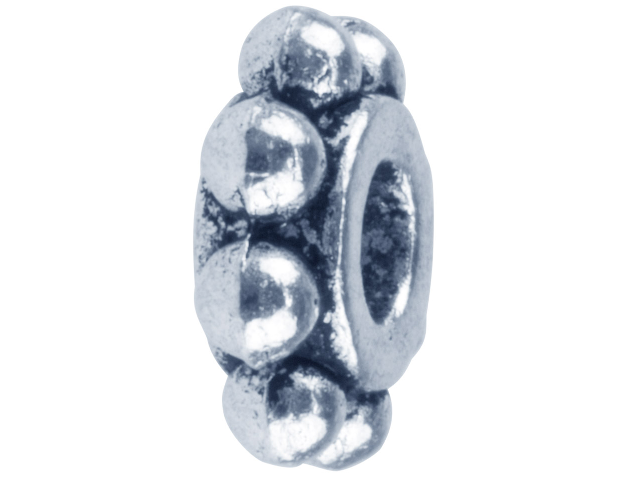 Silver Tone Ball Edged Spacer 9x3mm Pack of 10