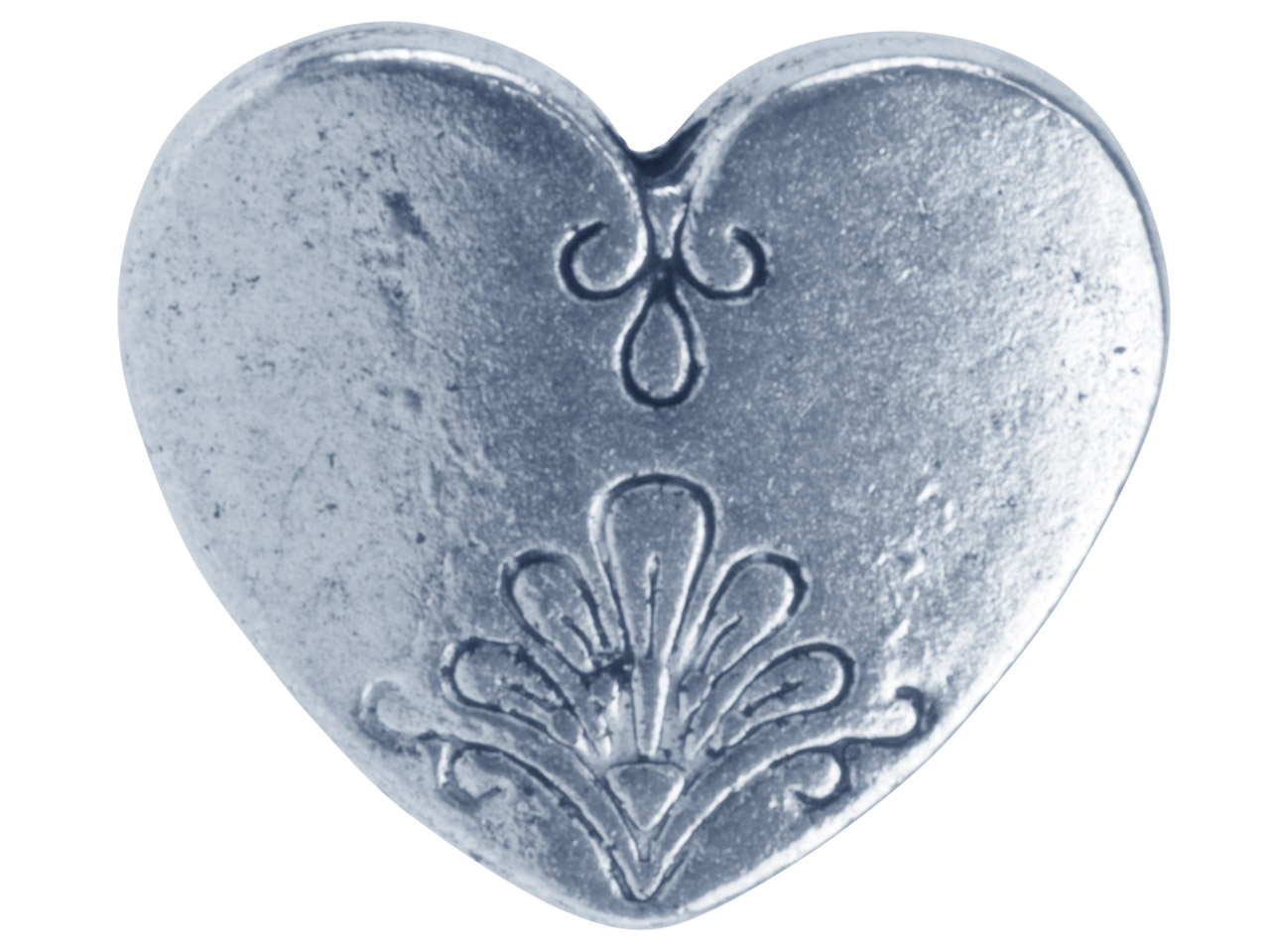 Silver Tone Decorative Heart       14x17mm Pack of 10