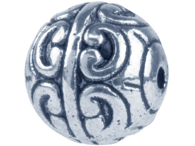 Silver Tone Swirl Round 12mm       Pack of 10