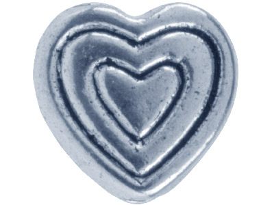 Silver Tone Heart Lined, 8mm, Pack Of 10