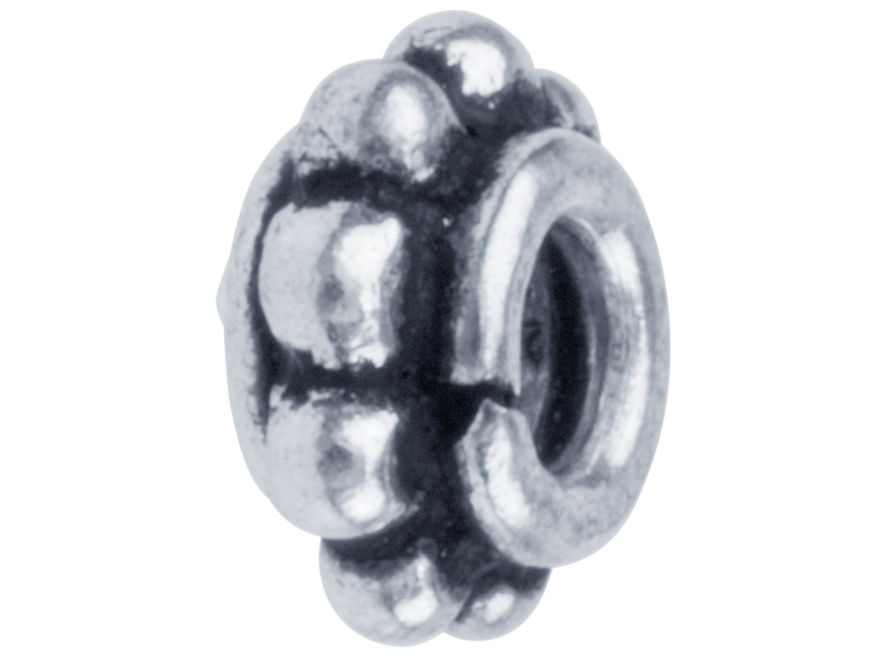 Silver Plated Decorative Spacer 7mm Beads, Pack of 50