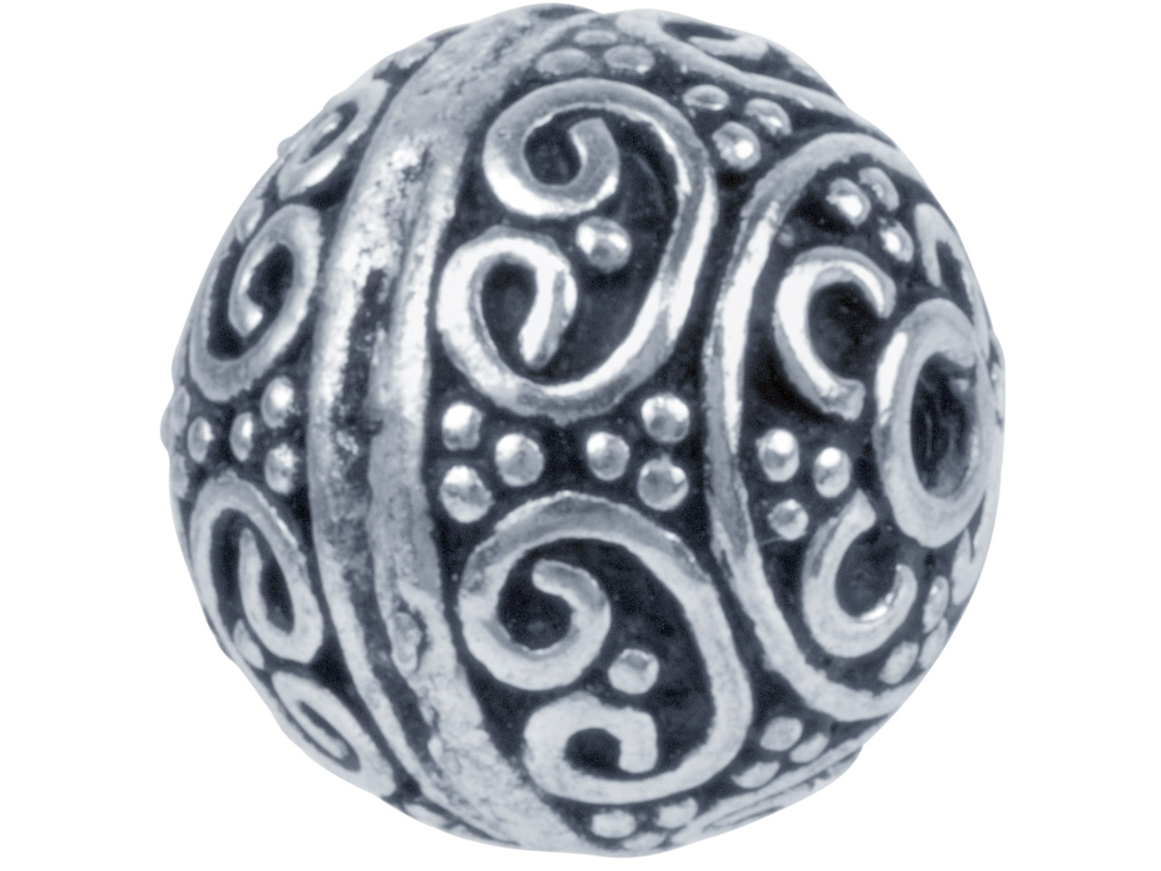 Silver Plated Delicate Swirls Round 10mm Beads, Pack of 10