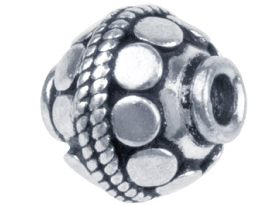 Silver Plated Disc Pattern Round 10mm Beads Pack of 10