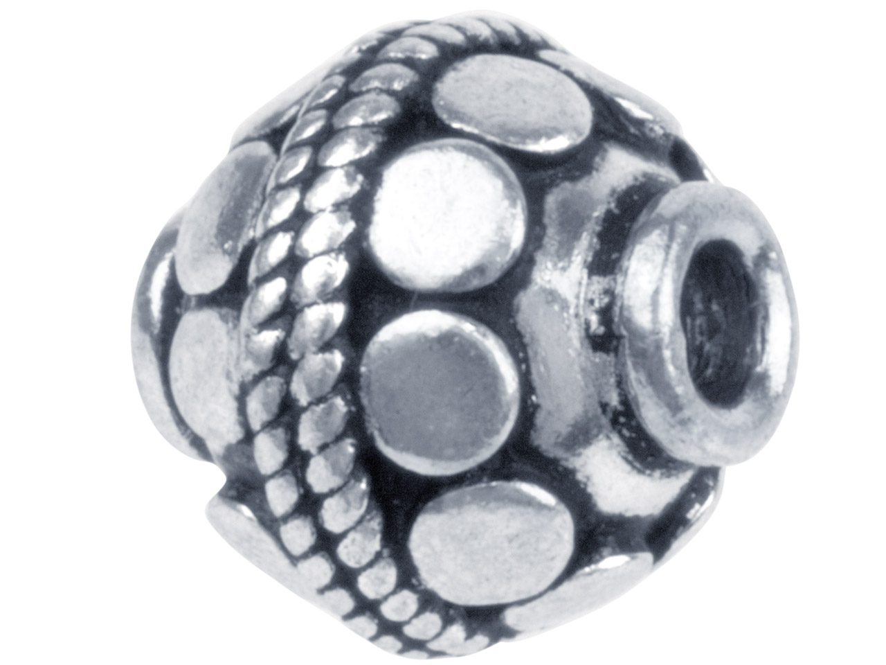 Silver Plated Disc Pattern Round   10mm Beads, Pack of 10