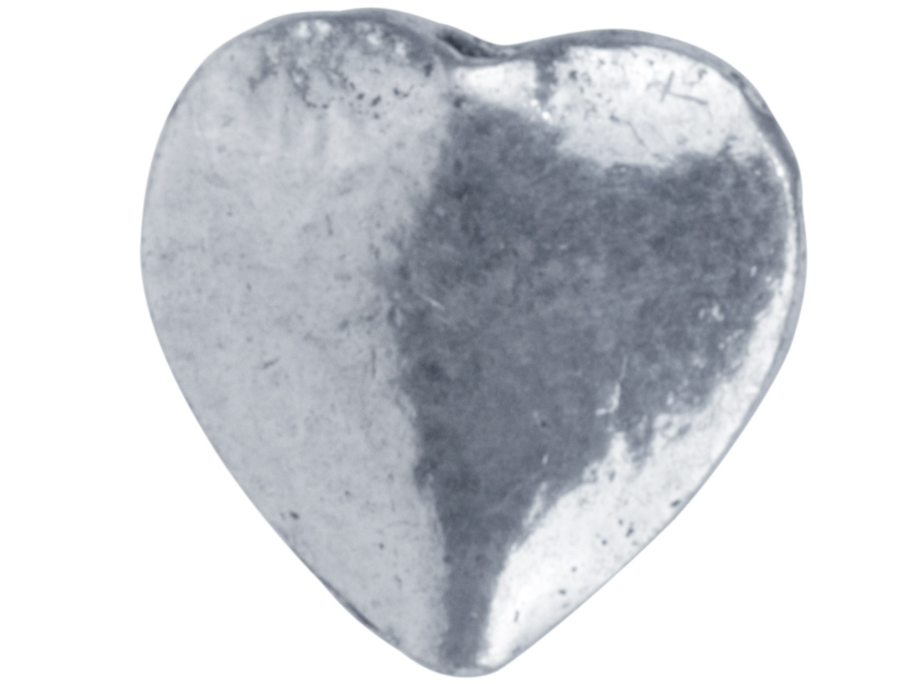 Silver Plated Flat Heart 10mm Beads Pack of 20