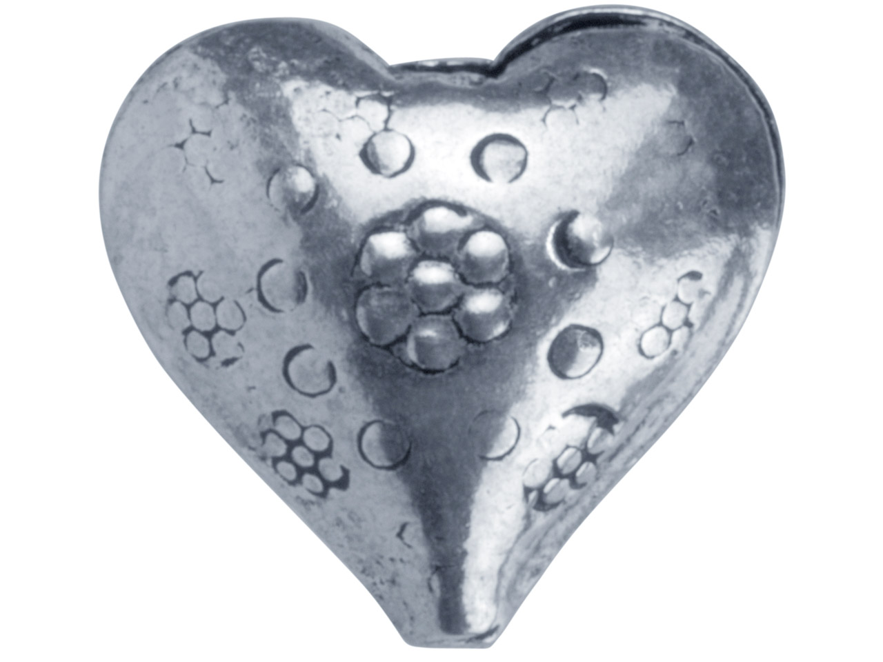 Silver Plated Flower Design Heart  16mm Beads, Pack of 10