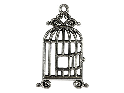 Silver Tone Bird Cage, 30x21mm,    Pack of 10